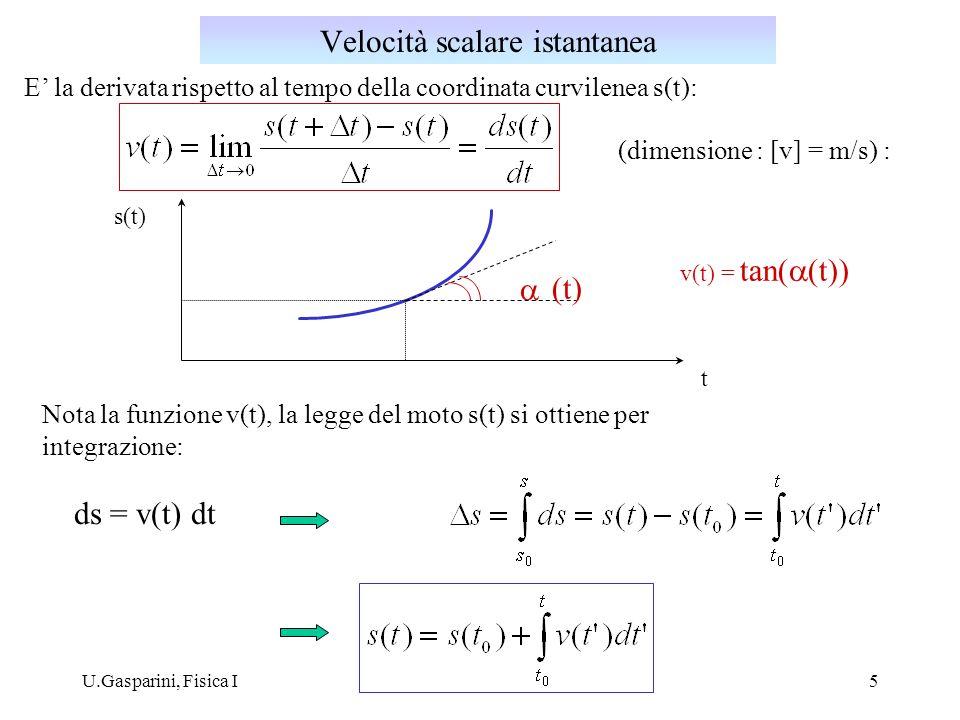 U.Gasparini, Fisica I5 t s(t) (t) v(t) = tan( (t)) Nota la funzione v(t), la legge del moto s(t) si ottiene per integrazione: ds = v(t) dt (dimensione : [v] = m/s) : Velocità scalare istantanea E la derivata rispetto al tempo della coordinata curvilenea s(t):