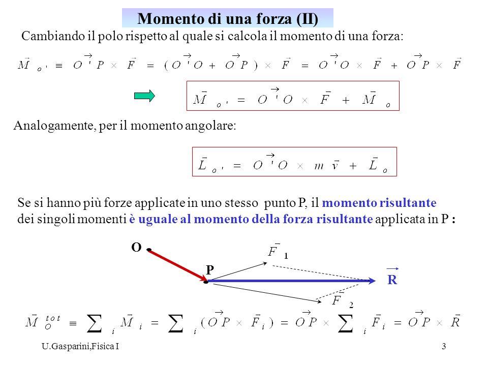 U.Gasparini,Fisica I4 la derivata rispetto al tempo del momento angolare, calcolato rispetto ad un polo fisso O in un sistema di riferimento inerziale, di un punto materiale soggetto ad una forza F è uguale al momento della forza rispetto ad O : Infatti: = 0 ( 2 legge di Newton, se v è la velocità in un sistema di riferimento inerziale) Teorema del momento angolare
