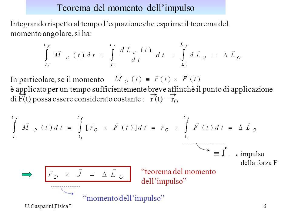 U.Gasparini,Fisica I6 Integrando rispetto al tempo lequazione che esprime il teorema del momento angolare, si ha: In particolare, se il momento è appl