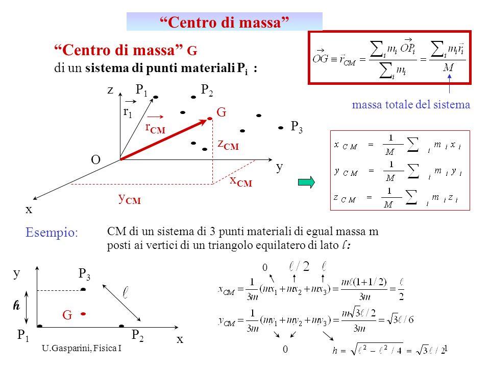 U.Gasparini, Fisica I2 v1v1 v2v2 v CM Accelerazione del CM : La quantità di moto totale di un sistema di punti materiali può essere espressa da: Velocità e accelerazione del CM