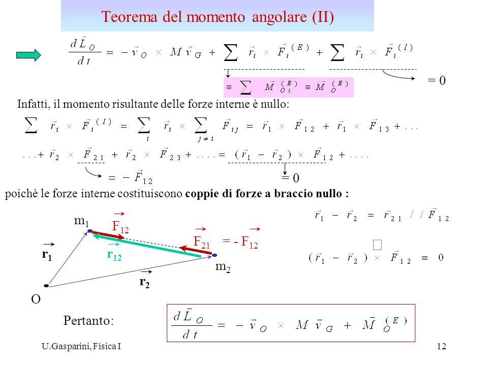 U.Gasparini, Fisica I13 Se il polo O è fisso nel sistema inerziale nel quale sono misurate le velocità v i dei punti materiali: Se il sistema é isolato o il momento risultante delle forze esterne agenti sul sistema è nullo : L O = costante Il momento angolare totale di un sistema isolato si conserva Momento angolare (III) Una galassia è con ottima approssimazione un esempio di sistema con momento angolare costante