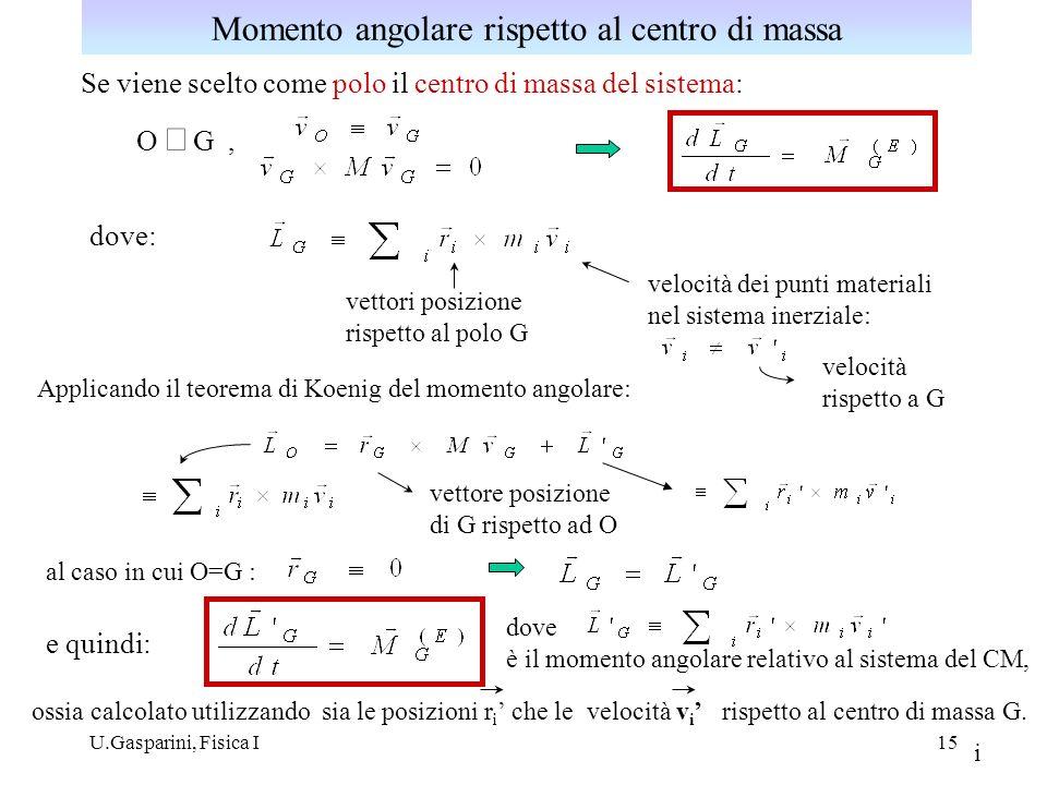 U.Gasparini, Fisica I16 Energia cinetica di un sistema di punti materiali: O G r i = r i rGrG v i = v i + v G PiPi ri +rGri +rG energia cinetica associata al moto del CM energia cinetica E K associata al moto relativo al CM Teorema di Koenig per lenergia cinetica: vGvG