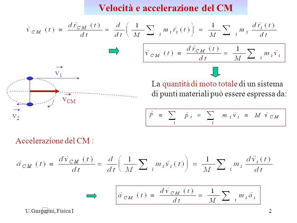 U.Gasparini, Fisica I3 Per ogni punto materiale P i di massa m i : risultante delle forze esterne al sistema agenti su P i risultante delle forze interne agenti su P i forza interna che il punto P j esercita su P i P1P1 P2P2 F 12 F 21 = - F 12 F1EF1E (es.: m 1 g ) R E legge di Newton legge di azione e reazione risultante delle forze esterne che agiscono sul sistema accelerazione del CM in un sistema di riferimento inerziale Teorema del moto del centro di massa CM
