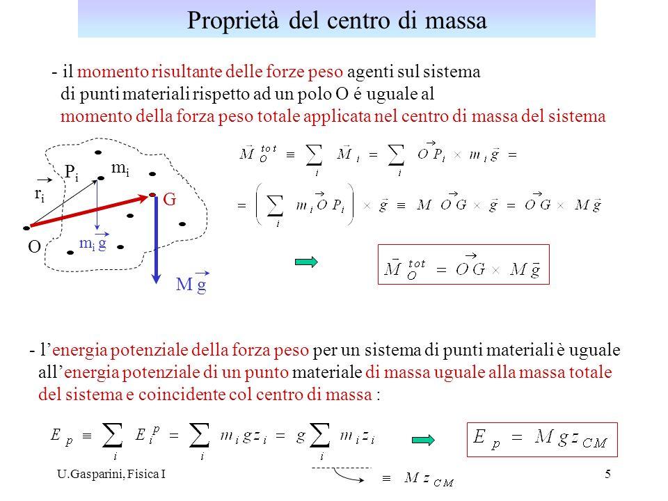 U.Gasparini, Fisica I6 Dato un insieme di forze parallele applicate nei punti P i, esiste un punto C, detto centro delle forze parallele: tale che il momento risultante delle forze F i rispetto ad un generico polo O sia uguale al momento rispetto ad O della risultante applicata in C.