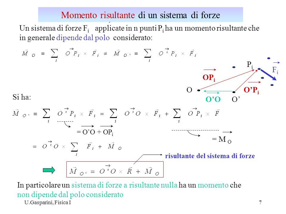 U.Gasparini, Fisica I8 Sistema di due forze di egual modulo e direzione e di verso opposto ( R 0 ).