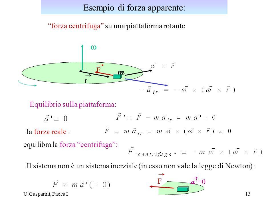 U.Gasparini, Fisica I13 forza centrifuga su una piattaforma rotante r Equilibrio sulla piattaforma: la forza reale : equilibra la forza centrifuga: F