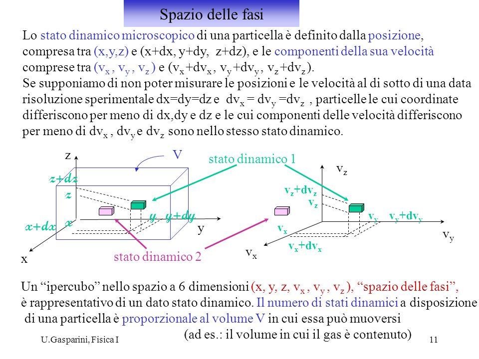 U.Gasparini, Fisica I11 Lo stato dinamico microscopico di una particella è definito dalla posizione, compresa tra (x,y,z) e (x+dx, y+dy, z+dz), e le c