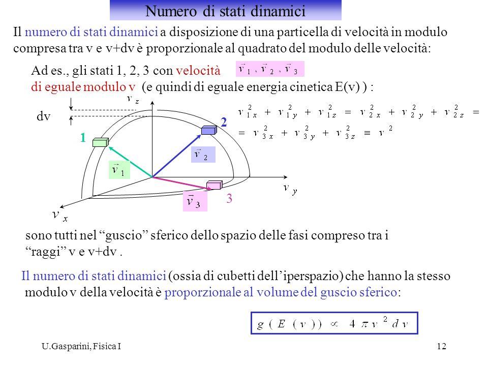 U.Gasparini, Fisica I12 Il numero di stati dinamici a disposizione di una particella di velocità in modulo compresa tra v e v+dv è proporzionale al qu