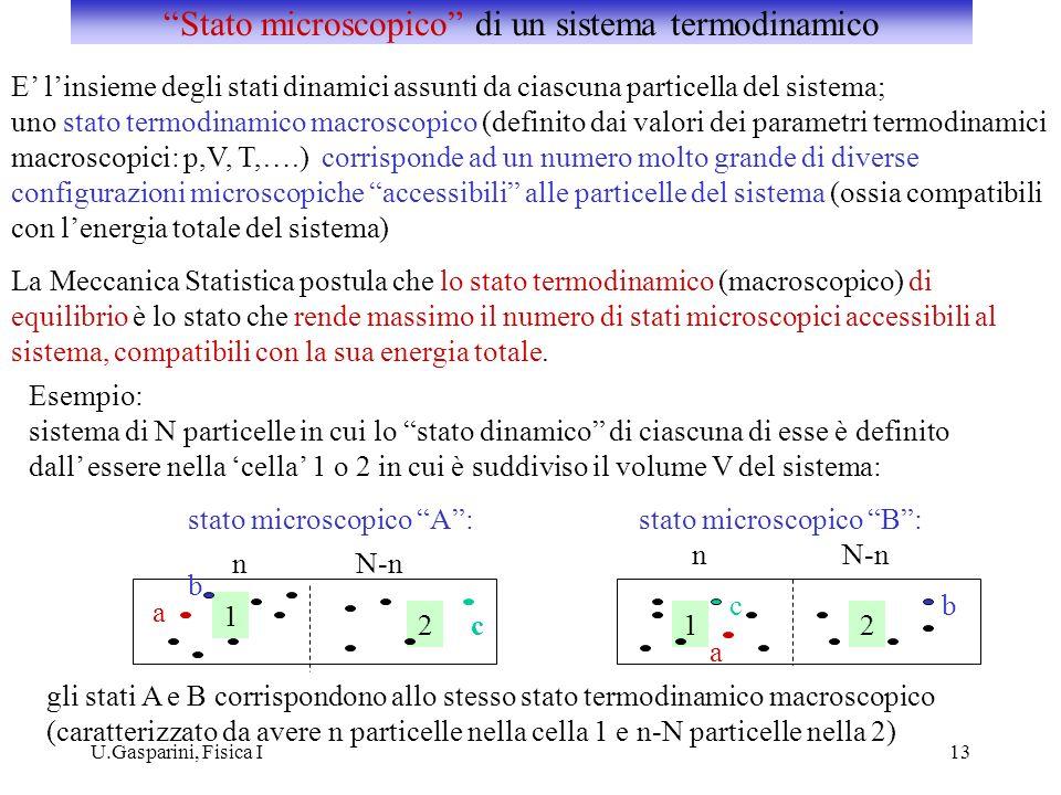 U.Gasparini, Fisica I13 E linsieme degli stati dinamici assunti da ciascuna particella del sistema; uno stato termodinamico macroscopico (definito dai