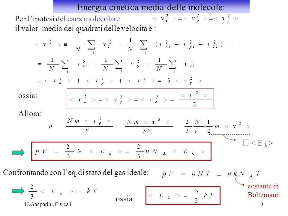 U.Gasparini, Fisica I3 Per lipotesi del caos molecolare: il valor medio dei quadrati delle velocità è : ossia: Allora: Confrontando con leq.di stato d