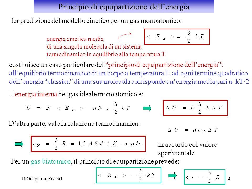 U.Gasparini, Fisica I4 La predizione del modello cinetico per un gas monoatomico: energia cinetica media di una singola molecola di un sistema termodi