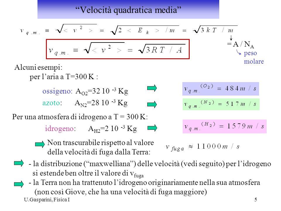 U.Gasparini, Fisica I5 = A / N A peso molare Alcuni esempi: per laria a T=300 K : ossigeno: A O2 =32 10 -3 Kg azoto: A N2 =28 10 -3 Kg Per una atmosfe