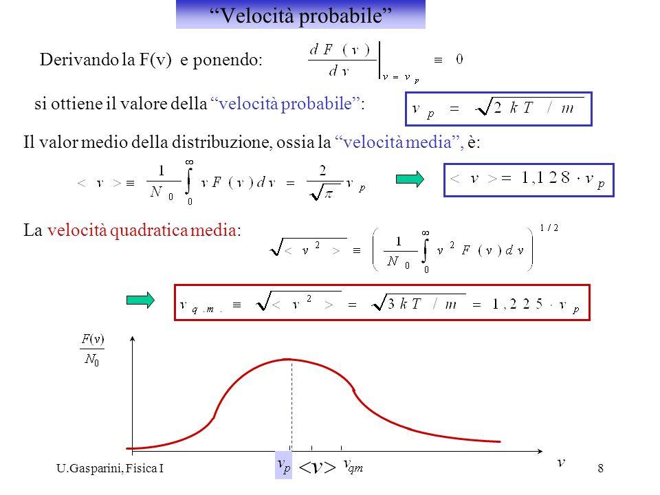 U.Gasparini, Fisica I8 Derivando la F(v) e ponendo: si ottiene il valore della velocità probabile: Il valor medio della distribuzione, ossia la veloci