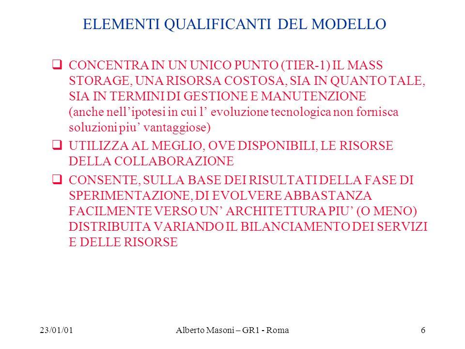 23/01/01Alberto Masoni – GR1 - Roma6 ELEMENTI QUALIFICANTI DEL MODELLO CONCENTRA IN UN UNICO PUNTO (TIER-1) IL MASS STORAGE, UNA RISORSA COSTOSA, SIA IN QUANTO TALE, SIA IN TERMINI DI GESTIONE E MANUTENZIONE (anche nellipotesi in cui l evoluzione tecnologica non fornisca soluzioni piu vantaggiose) UTILIZZA AL MEGLIO, OVE DISPONIBILI, LE RISORSE DELLA COLLABORAZIONE CONSENTE, SULLA BASE DEI RISULTATI DELLA FASE DI SPERIMENTAZIONE, DI EVOLVERE ABBASTANZA FACILMENTE VERSO UN ARCHITETTURA PIU (O MENO) DISTRIBUITA VARIANDO IL BILANCIAMENTO DEI SERVIZI E DELLE RISORSE