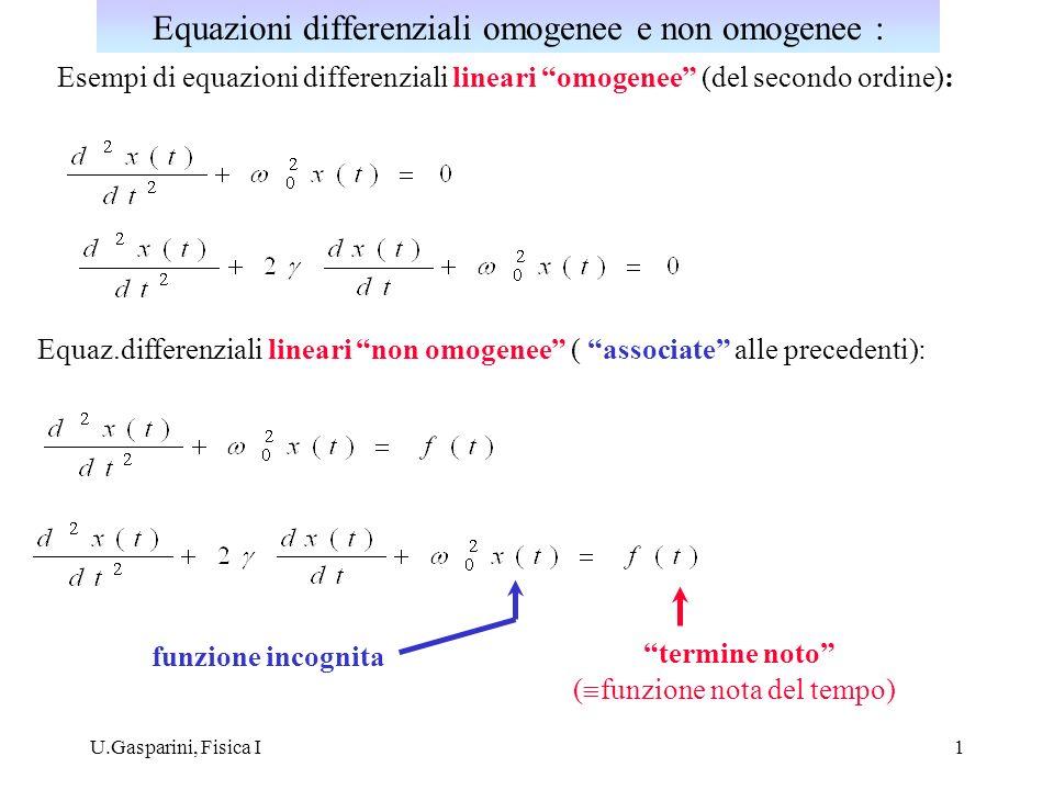 U.Gasparini, Fisica I1 Esempi di equazioni differenziali lineari omogenee (del secondo ordine): Equaz.differenziali lineari non omogenee ( associate a