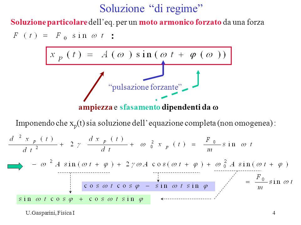 U.Gasparini, Fisica I4 Soluzione particolare delleq. per un moto armonico forzato da una forza : pulsazione forzante ampiezza e sfasamento dipendenti
