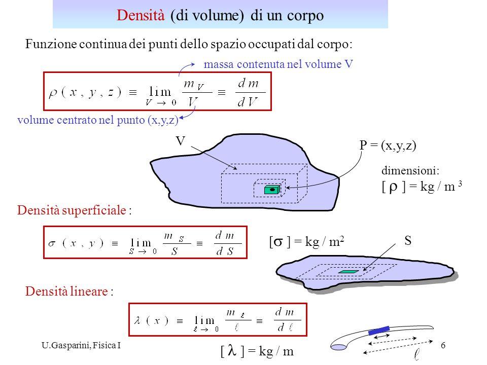 U.Gasparini, Fisica I7 Centro di massa G di un sistema di punti materiali P i : G x y z r CM z CM massa totale del sistema O P3P3 r1r1 r = (x,y,z) C volume dV G volume del corpo Centro di massa di un corpo rigido C x CM y CM P2P2 P1P1 Per un corpo rigido: