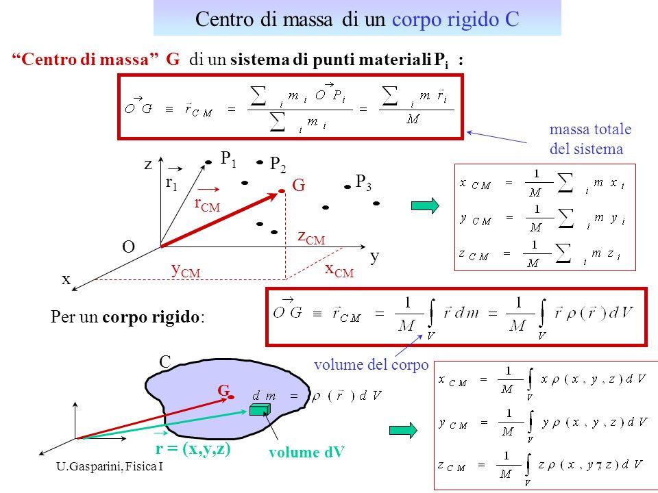 i) centro di massa di unasta omogenea di lunghezza : O x G xGxG densità lineare : dx ii) centro di massa di un semidisco omogeneo di raggio R: x y R y dy = (per simmetria) area infinitesima G densità superficiale Centro di massa: esempi: