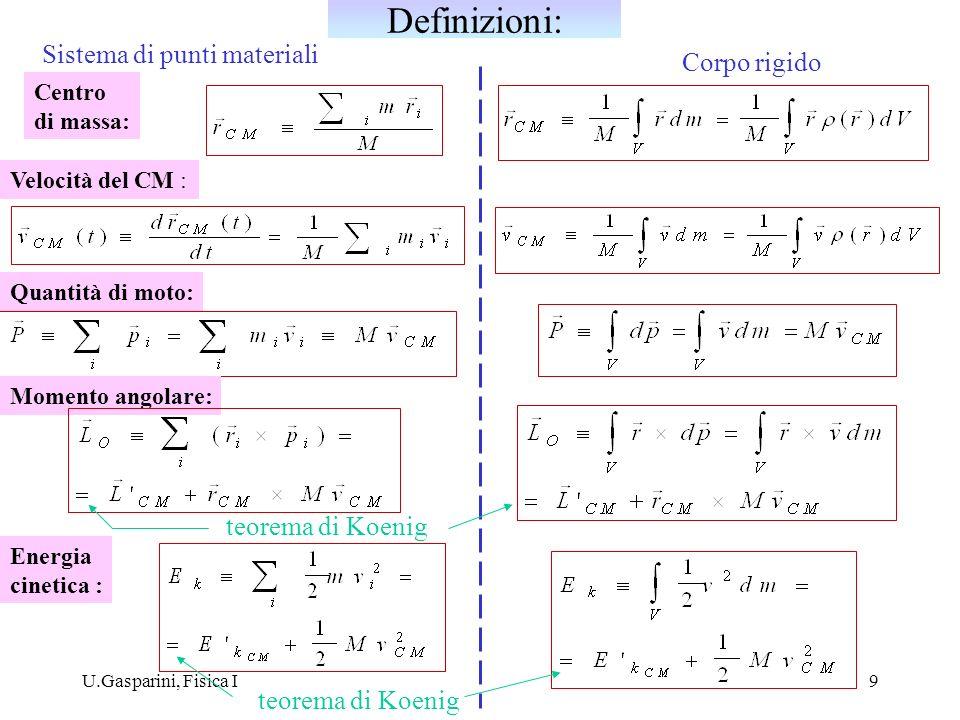 U.Gasparini, Fisica I10 v1v1 v2v2 v 1 = v 2 = v CM Tutti i punti del corpo hanno la stessa velocità, uguale a quella del centro di massa: = M Quantità di moto : Momento angolare : velocità relative al CM : = 0 Energia cinetica : G v CM Moto puramente traslatorio di un corpo rigido :