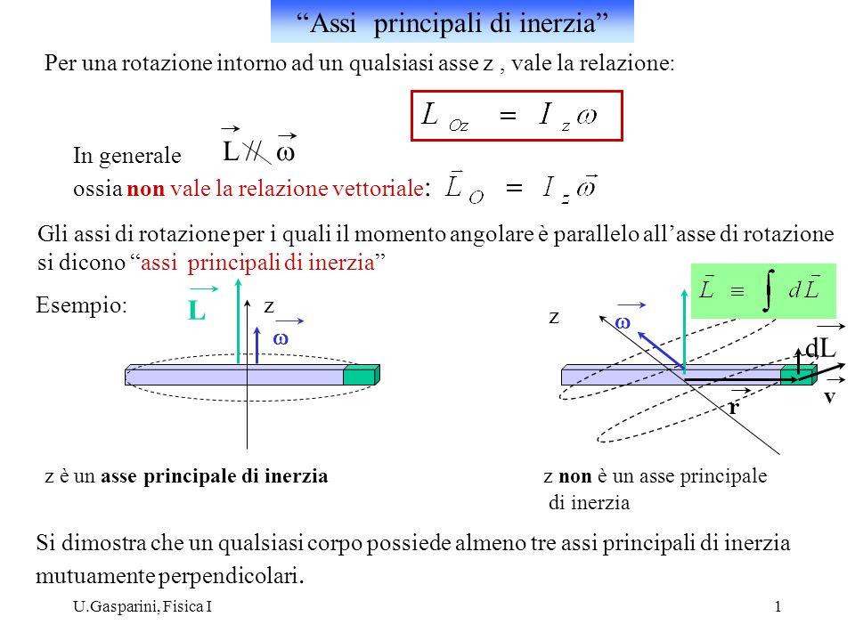 U.Gasparini, Fisica I1 Per una rotazione intorno ad un qualsiasi asse z, vale la relazione: In generale ossia non vale la relazione vettoriale : L //