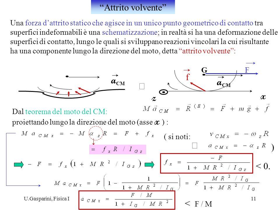 U.Gasparini, Fisica I11 Una forza dattrito statico che agisce in un unico punto geometrico di contatto tra superfici indeformabili è una schematizzazi