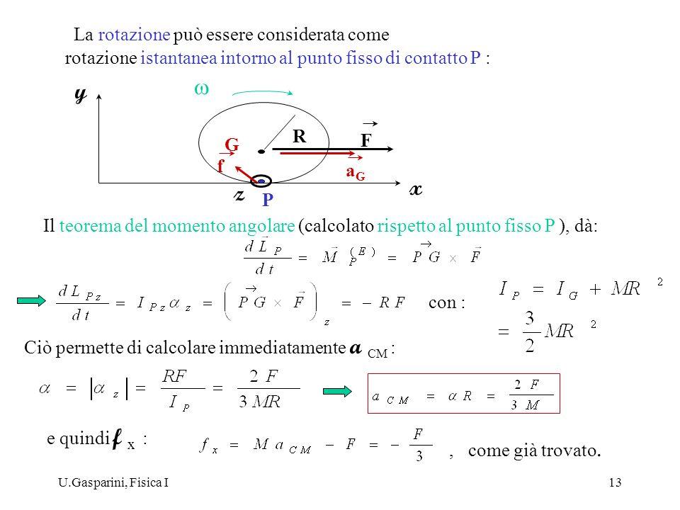 U.Gasparini, Fisica I13 La rotazione può essere considerata come x z aGaG G P R y f F Il teorema del momento angolare (calcolato rispetto al punto fis