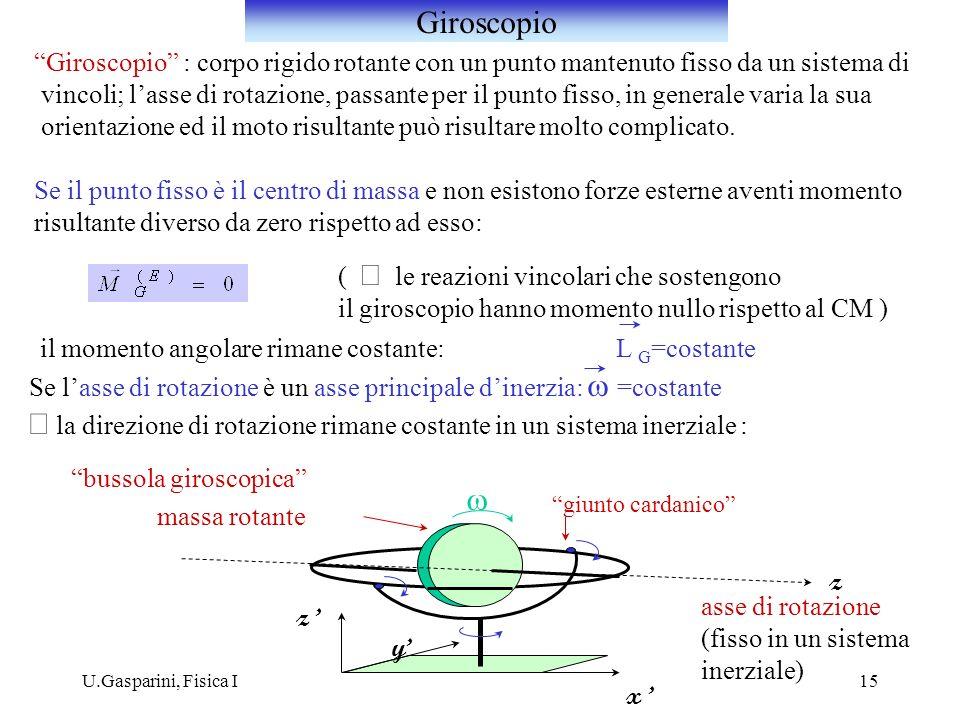 U.Gasparini, Fisica I15 Giroscopio : corpo rigido rotante con un punto mantenuto fisso da un sistema di vincoli; lasse di rotazione, passante per il p