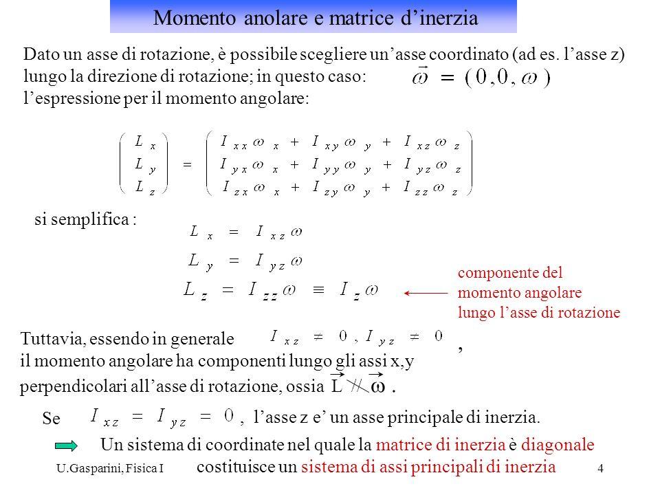 U.Gasparini, Fisica I4 Dato un asse di rotazione, è possibile scegliere unasse coordinato (ad es. lasse z) lungo la direzione di rotazione; in questo
