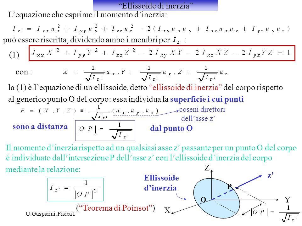 U.Gasparini, Fisica I Lequazione che esprime il momento dinerzia: può essere riscritta, dividendo ambo i membri per : con : (1) la (1) è lequazione di