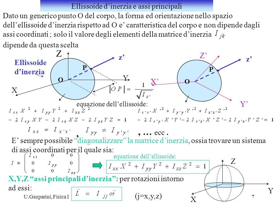 U.Gasparini, Fisica I7 Dato un generico punto O del corpo, la forma ed orientazione nello spazio dellellissoide dinerzia rispetto ad O e caratteristic