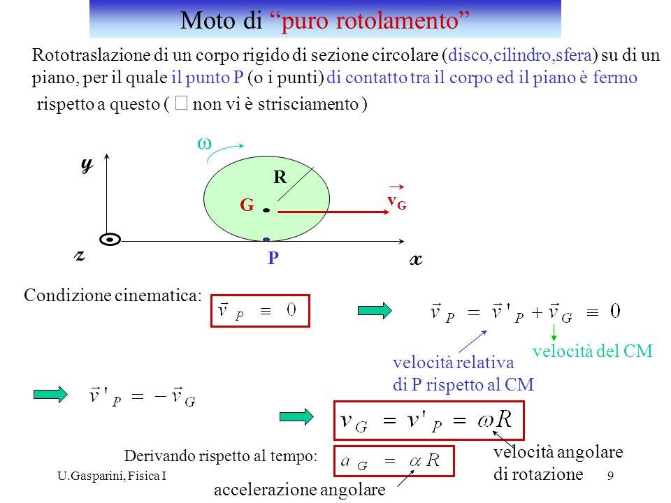 U.Gasparini, Fisica I9 Rototraslazione di un corpo rigido di sezione circolare (disco,cilindro,sfera) su di un piano, per il quale il punto P (o i pun