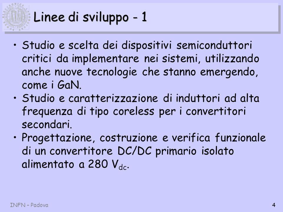 INFN – Padova5 Linee di sviluppo - 2 Progettazione, costruzione e verifica funzionale di convertitori DC/DC secondari non isolati di tipo POL, sia coreless/inductorless che tradizionali.