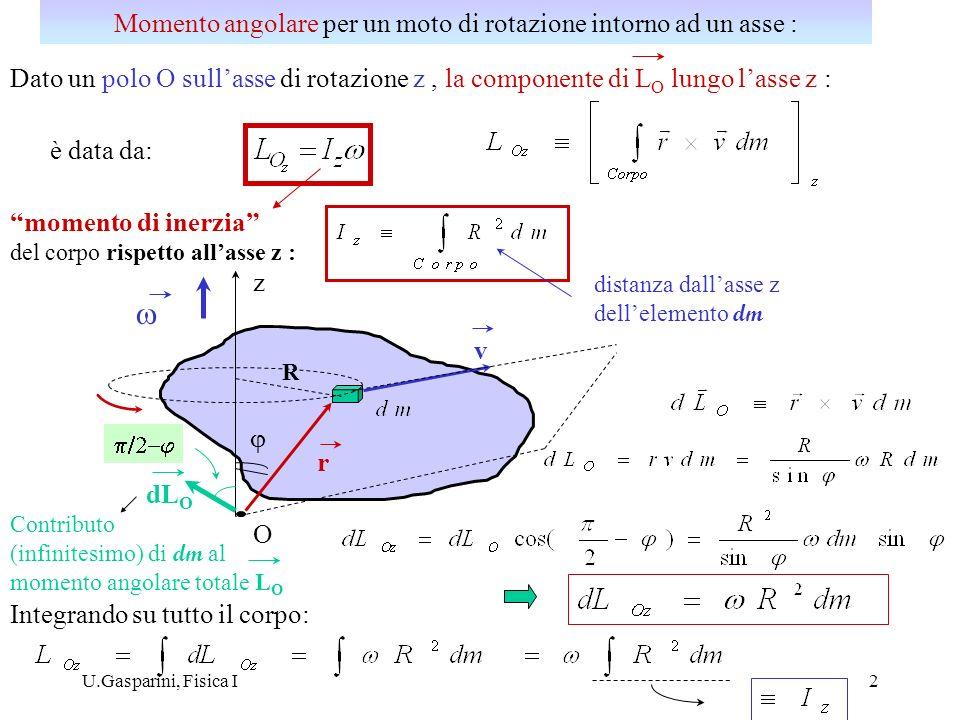 Dimensioni del momento dinerzia: Il momento dinerzia dipende dalla forma geometrica del corpo, dalla sua distribuzione di massa (densità) e dallasse considerato; non è una proprietà intrinseca del corpo Esempio: momento dinerzia di un asta omogenea di lunghezza e massa M : i) rispetto ad un asse perpendicolare passante per un suo estremo : z x R dm densità lineare ii) rispetto ad un asse perpendicolare passante per il suo centro di massa : xR dm z G Momento di inerzia