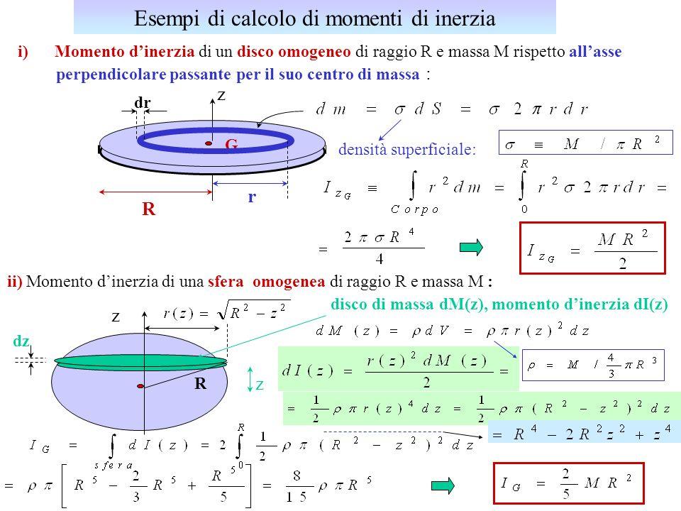 U.Gasparini, Fisica I5 Teorema di Huygens-Steiner (o degli assi paralleli) : momento dinerzia rispetto allasse z// z e passante per il CM massa totale del corpo distanza tra z e z d z y, y x x z G R R dm P = (x,y,z,) = (x,y,z) = R 2 = M Teorema di Huygens-Steiner