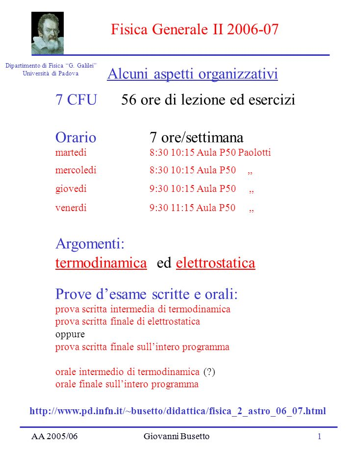 AA 2005/06Giovanni Busetto1 Dipartimento di Fisica G. Galilei Università di Padova Fisica Generale II 2006-07 AA 2005/06Giovanni Busetto 7 CFU 56 ore