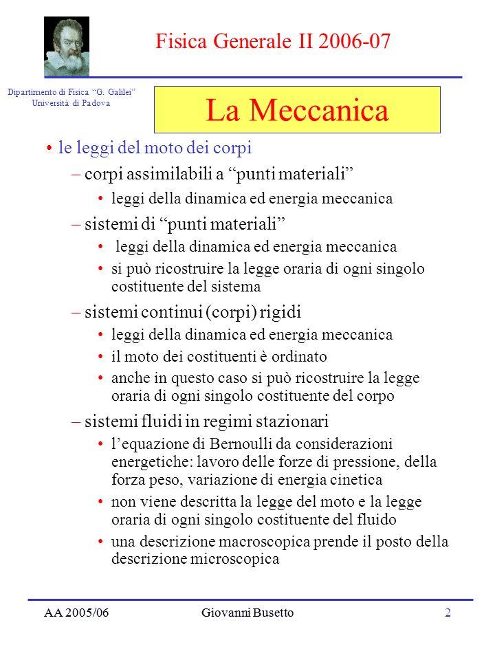 AA 2005/06Giovanni Busetto2 Dipartimento di Fisica G. Galilei Università di Padova Fisica Generale II 2006-07 AA 2005/06Giovanni Busetto La Meccanica