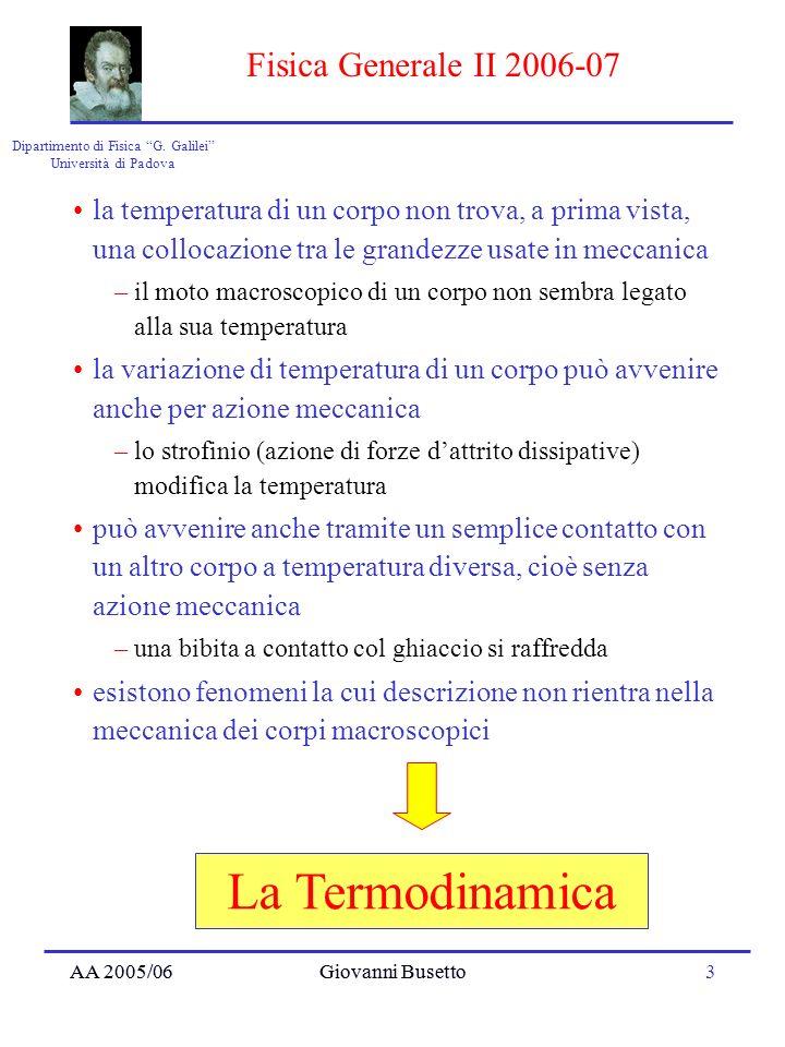 AA 2005/06Giovanni Busetto3 Dipartimento di Fisica G. Galilei Università di Padova Fisica Generale II 2006-07 AA 2005/06Giovanni Busetto La Termodinam