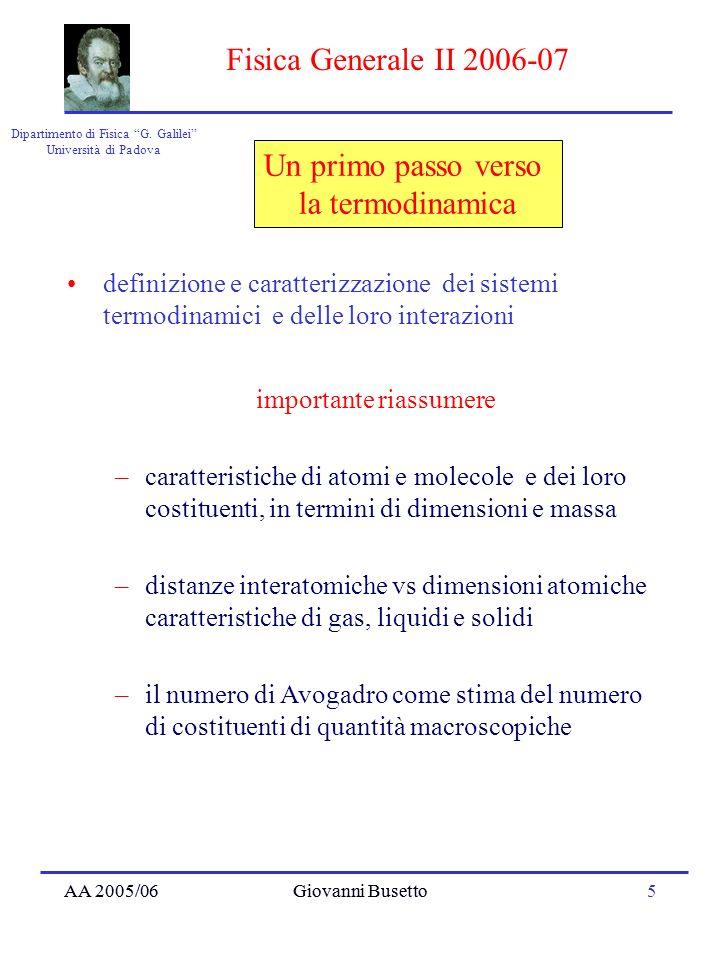 AA 2005/06Giovanni Busetto16 Dipartimento di Fisica G.