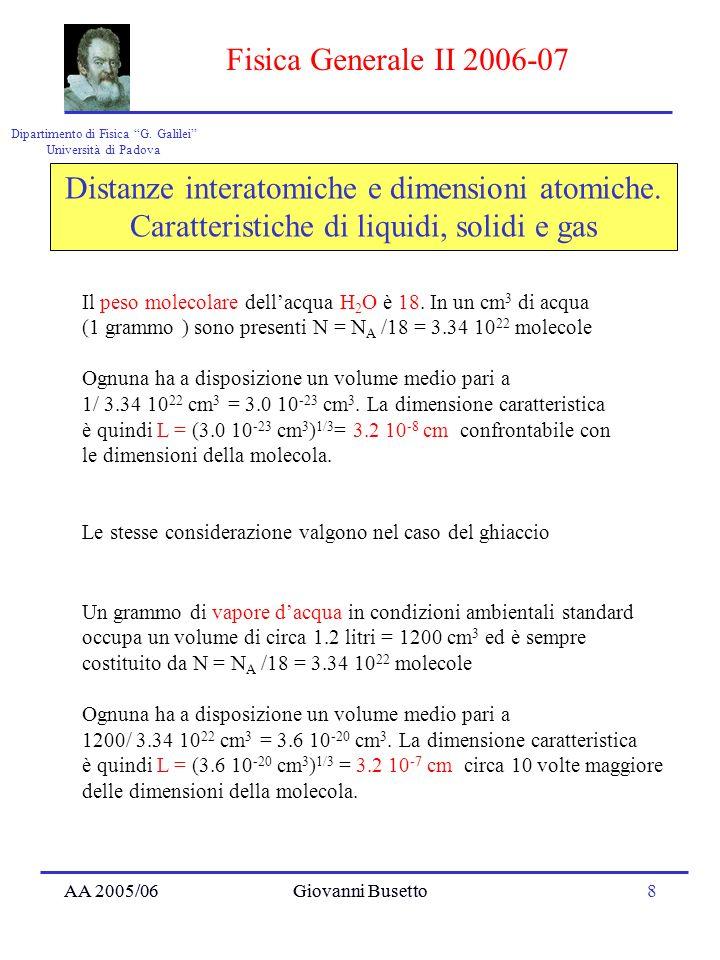 AA 2005/06Giovanni Busetto8 Dipartimento di Fisica G. Galilei Università di Padova Fisica Generale II 2006-07 AA 2005/06Giovanni Busetto Distanze inte
