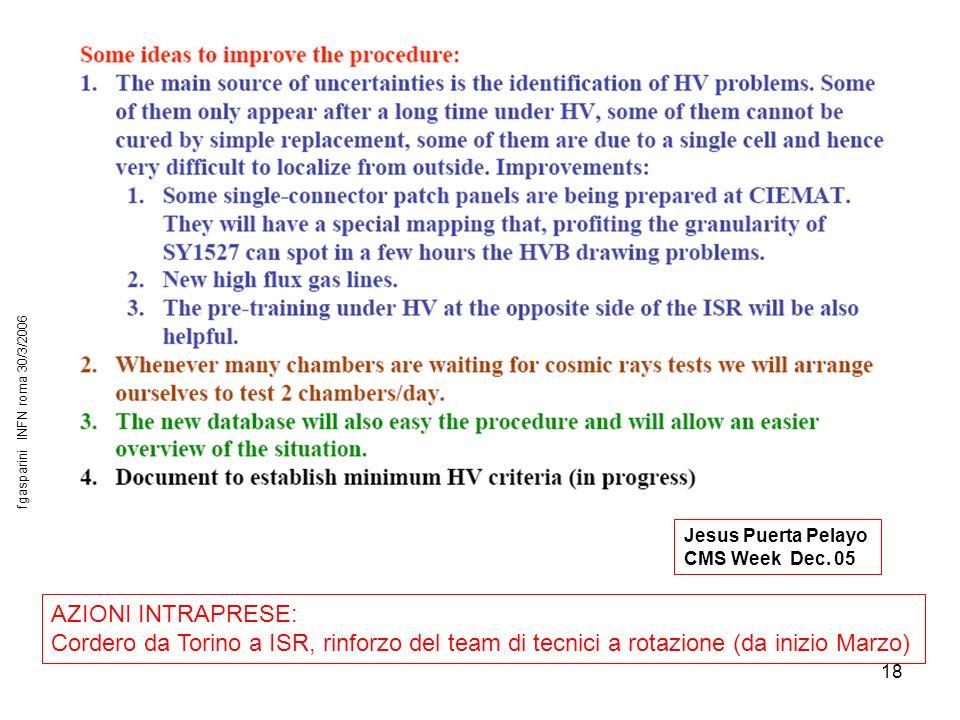 18 AZIONI INTRAPRESE: Cordero da Torino a ISR, rinforzo del team di tecnici a rotazione (da inizio Marzo) Jesus Puerta Pelayo CMS Week Dec.