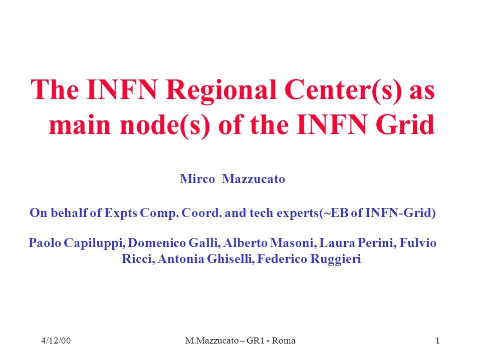 4/12/00M.Mazzucato – GR1 - Roma32 CMS, each Tier1 outside CERN resources (Storage) Tier1 # of events Ev-size (MBytes) Active Tape/Archive tape/Disk (Tbytes) SIM.Out1.E+082.0/200/0 SIM.Rec.1.E+080.440/0/30 Raw-sample5.E+071.50/0/0 Calibration0/10/10 ESD1.E+090.5500/0/0 Re-proc.ESD0.2E+090.50/100/40 Re-vised ESD0.2E+090.50/100/40 General AOD1.E+090.010/10/10 Revised AOD2.E+080.010/2/2 TAG1.E+090.0010/1/1 Local AOD,TAG, DPD2.E+080/10/10 User data0/0/50 Cache Disk for active Tapes0/0/120 Total590/433/313