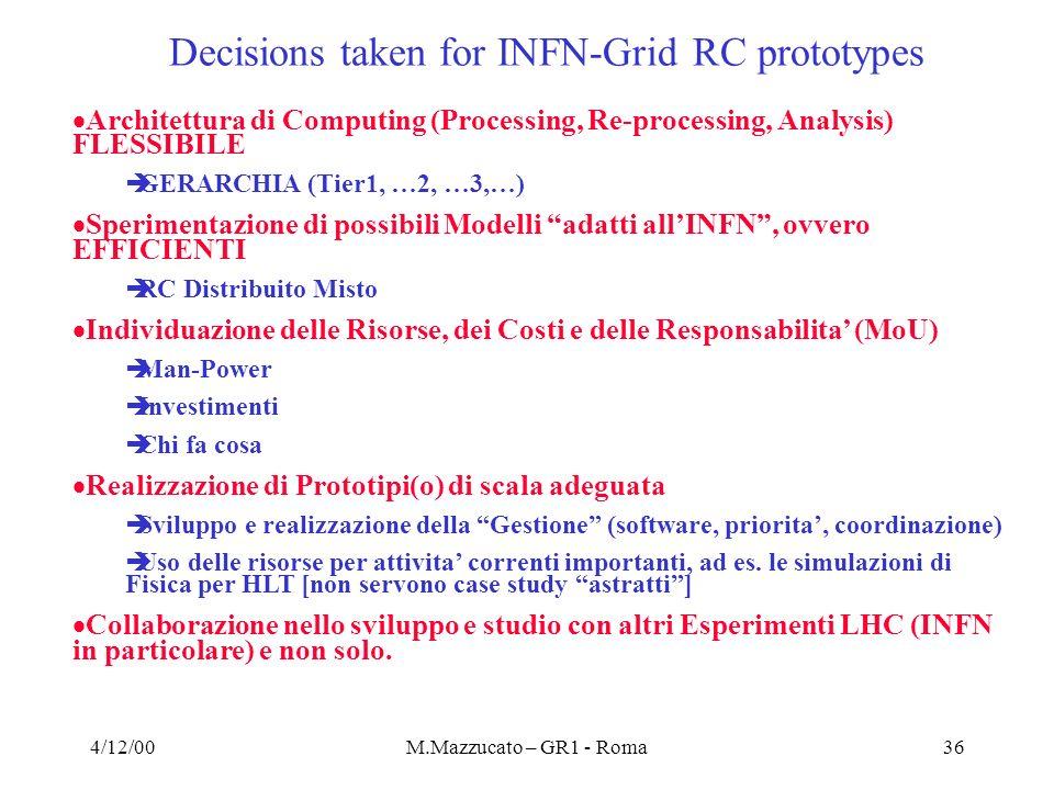 4/12/00M.Mazzucato – GR1 - Roma36 Architettura di Computing (Processing, Re-processing, Analysis) FLESSIBILE èGERARCHIA (Tier1, …2, …3,…) Sperimentazi