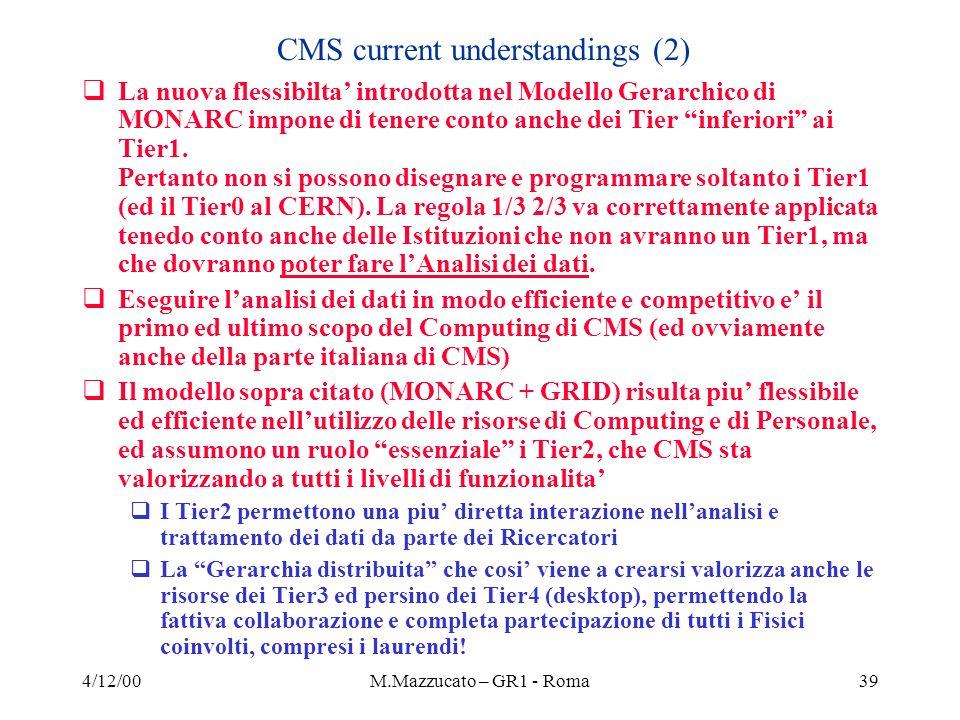 4/12/00M.Mazzucato – GR1 - Roma39 La nuova flessibilta introdotta nel Modello Gerarchico di MONARC impone di tenere conto anche dei Tier inferiori ai Tier1.