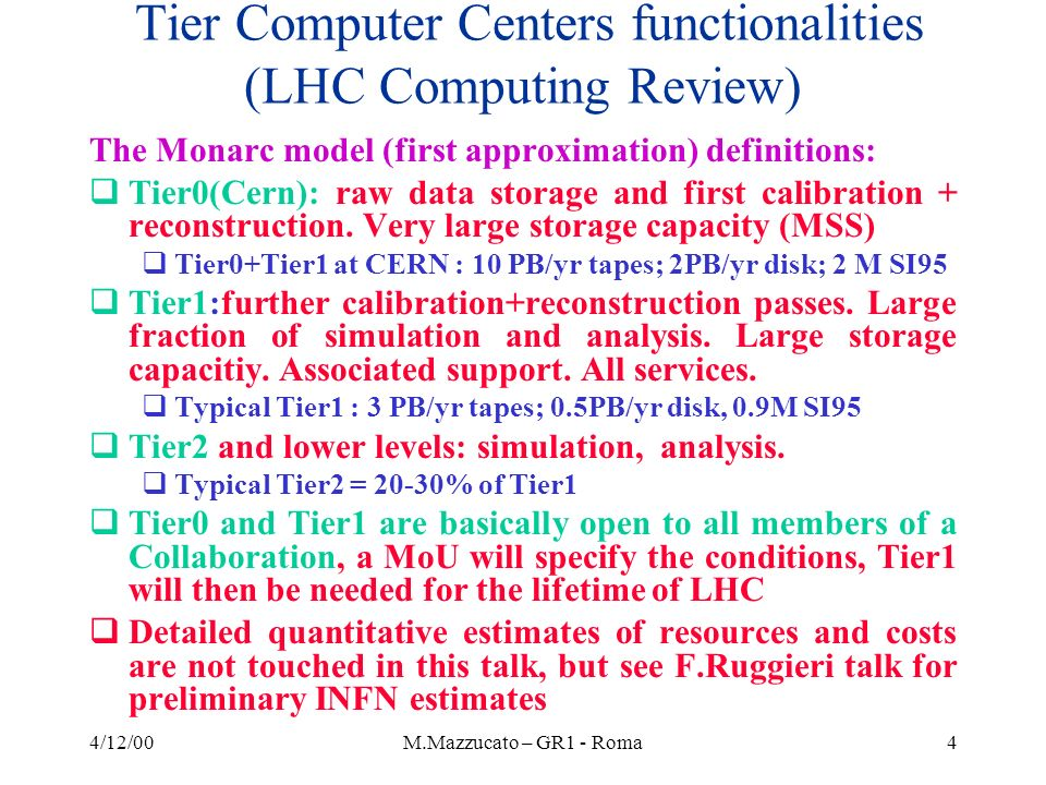 4/12/00M.Mazzucato – GR1 - Roma35 CMS CPU resources, Tier2s Data Processing Each Tier2 # eventsCPUper event kSI95/ev.s CPUtotal kSI95 Simulation0.5E+085.10 Rec-Simulation0.5E+083.6 Analysis1.E+070.01016 TOTAL32 TOTAL CPU for CMS : TIER0/1 CERN + 5 TIER1 + 25 TIER2 = 615 + 5X238 + 25X32 = 2180 kSI95