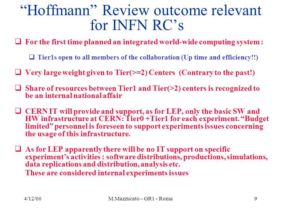 4/12/00M.Mazzucato – GR1 - Roma10 The issue: One vs more Tier1 in INFN Some preliminary considerations….