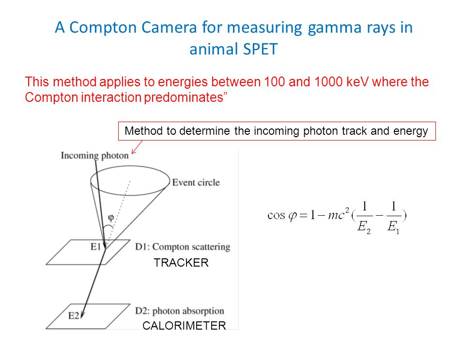 A Compton Camera for measuring gamma rays in animal SPET This method applies to energies between 100 and 1000 keV where the Compton interaction predom