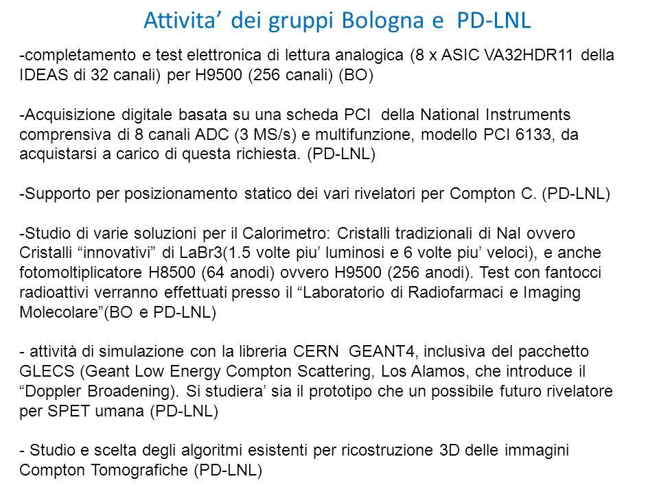 Attivita dei gruppi Bologna e PD-LNL -completamento e test elettronica di lettura analogica (8 x ASIC VA32HDR11 della IDEAS di 32 canali) per H9500 (256 canali) (BO) -Acquisizione digitale basata su una scheda PCI della National Instruments comprensiva di 8 canali ADC (3 MS/s) e multifunzione, modello PCI 6133, da acquistarsi a carico di questa richiesta.