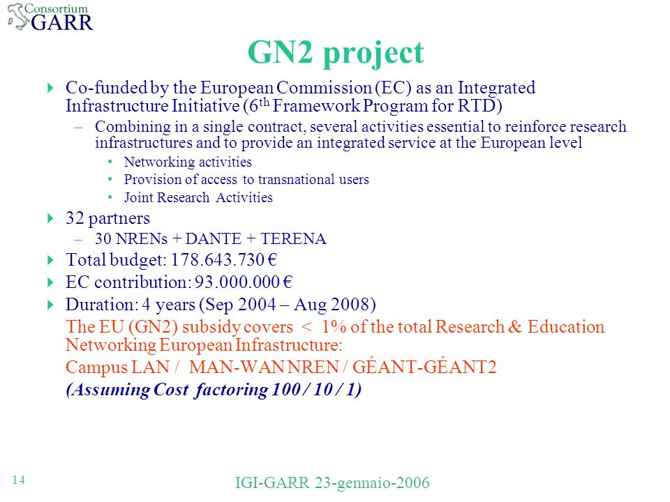 14 IGI-GARR 23-gennaio-2006 GN2 project Co-funded by the European Commission (EC) as an Integrated Infrastructure Initiative (6 th Framework Program for RTD) –Combining in a single contract, several activities essential to reinforce research infrastructures and to provide an integrated service at the European level Networking activities Provision of access to transnational users Joint Research Activities 32 partners –30 NRENs + DANTE + TERENA Total budget: 178.643.730 EC contribution: 93.000.000 Duration: 4 years (Sep 2004 – Aug 2008) The EU (GN2) subsidy covers < 1% of the total Research & Education Networking European Infrastructure: Campus LAN / MAN-WAN NREN / GÉANT-GÉANT2 (Assuming Cost factoring 100 / 10 / 1)
