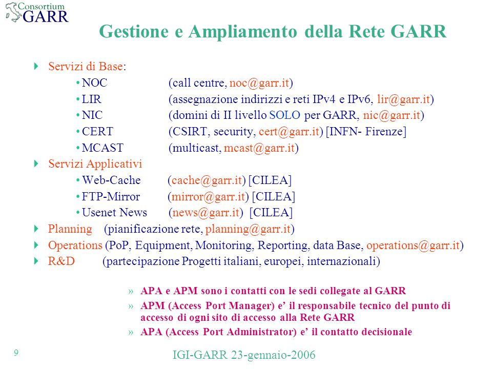 9 IGI-GARR 23-gennaio-2006 Gestione e Ampliamento della Rete GARR Servizi di Base: NOC (call centre, noc@garr.it) LIR(assegnazione indirizzi e reti IPv4 e IPv6, lir@garr.it) NIC (domini di II livello SOLO per GARR, nic@garr.it) CERT (CSIRT, security, cert@garr.it) [INFN- Firenze] MCAST(multicast, mcast@garr.it) Servizi Applicativi Web-Cache (cache@garr.it) [CILEA] FTP-Mirror (mirror@garr.it) [CILEA] Usenet News (news@garr.it) [CILEA] Planning (pianificazione rete, planning@garr.it) Operations (PoP, Equipment, Monitoring, Reporting, data Base, operations@garr.it) R&D (partecipazione Progetti italiani, europei, internazionali) »APA e APM sono i contatti con le sedi collegate al GARR »APM (Access Port Manager) e il responsabile tecnico del punto di accesso di ogni sito di accesso alla Rete GARR »APA (Access Port Administrator) e il contatto decisionale
