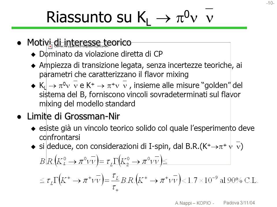 -11- A.Nappi – KOPIO - Padova 3/11/04 K L 0 : problematica sperimentale l B.R.